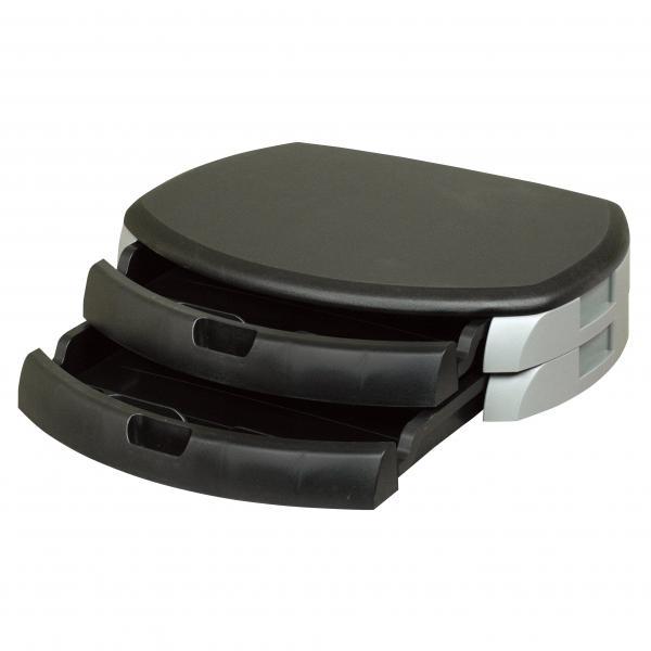 Podstavec pod monitor, se dvěma zásuvkami na kancelářské potřeby, černý, zpevněný plast, 40 nosnost